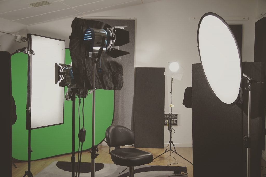 green screen with black wrap on lights